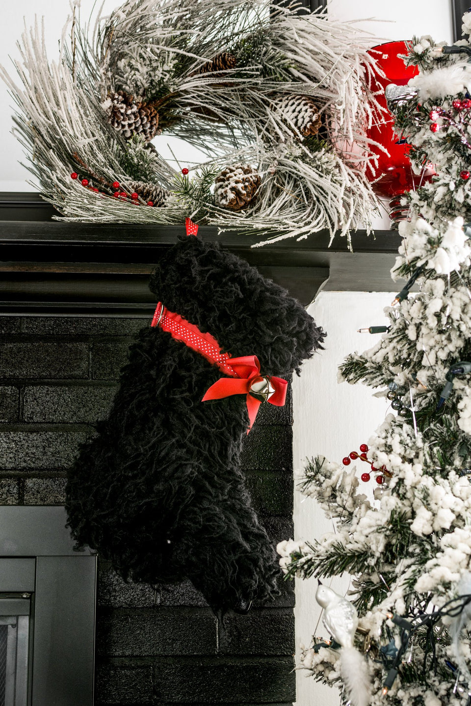 "This black ""Curly"" Christmas dog stocking is inspired by our popular Doodle and it is the perfect gift for stuffing toys and treats into to spoil your fur baby for Christmas, or whatever holiday you celebrate!"