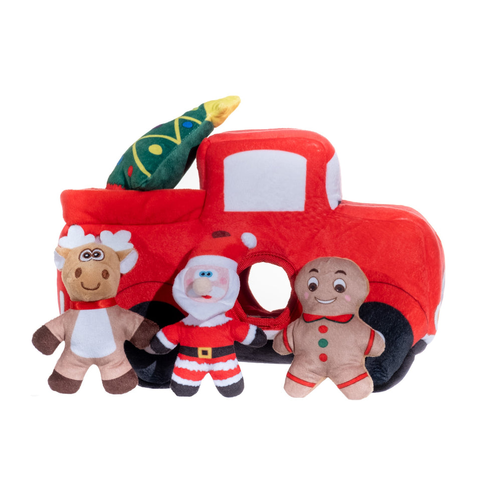 Christmas Truck W/Three Removable Squeaker Toys