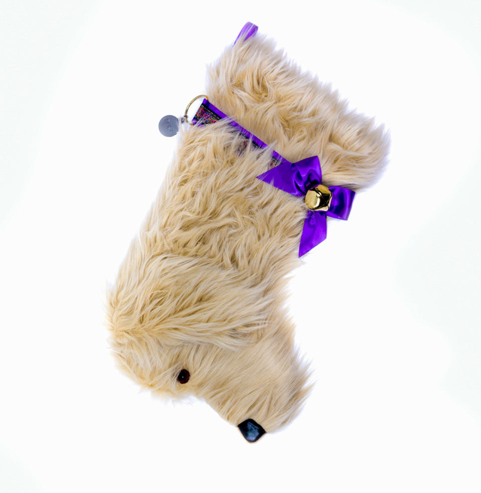 This Goldendoodle Christmas dog stocking is perfect for stuffing toys and treats into to spoil your fur baby for Christmas, or whatever holiday you celebrate!