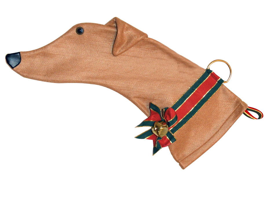 This Greyhound shaped dog Christmas stocking is perfect for stuffing toys and treats into to spoil your fur baby for Christmas, or whatever holiday you celebrate!