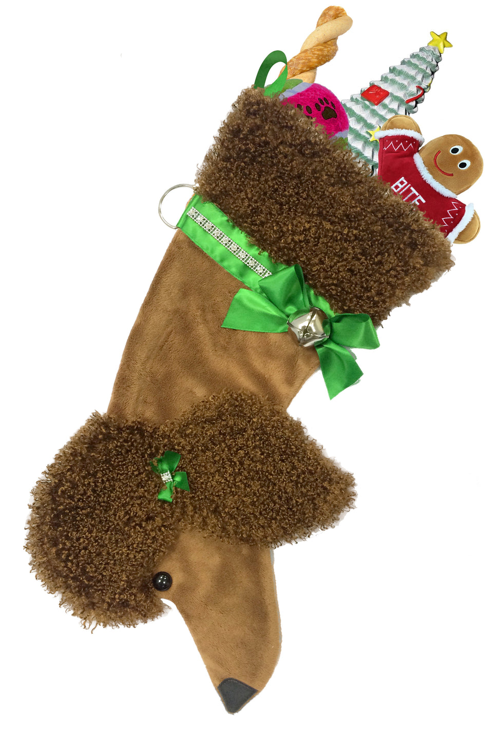 Poodle Dog Christmas Stocking (brown)