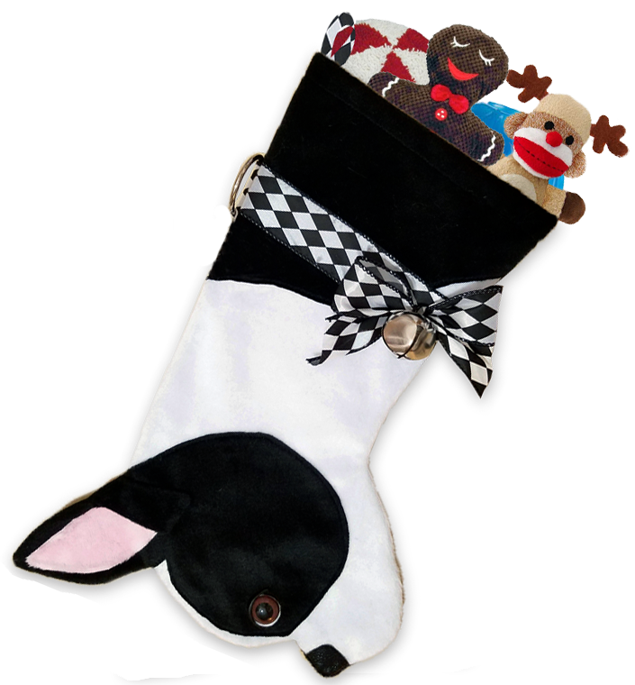 This Boston Terrier dog shaped Christmas stocking is the perfect gift for stuffing toys and treats into to spoil your fur baby for Christmas, or whatever holiday you celebrate!