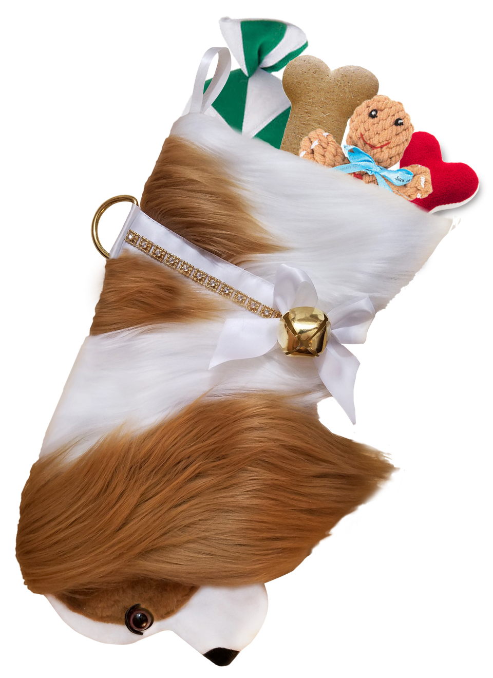 This Cavalier King Charles Spaniel dog Christmas stocking is the perfect gift for stuffing toys and treats into to spoil your fur baby for Christmas, or whatever holiday you celebrate!