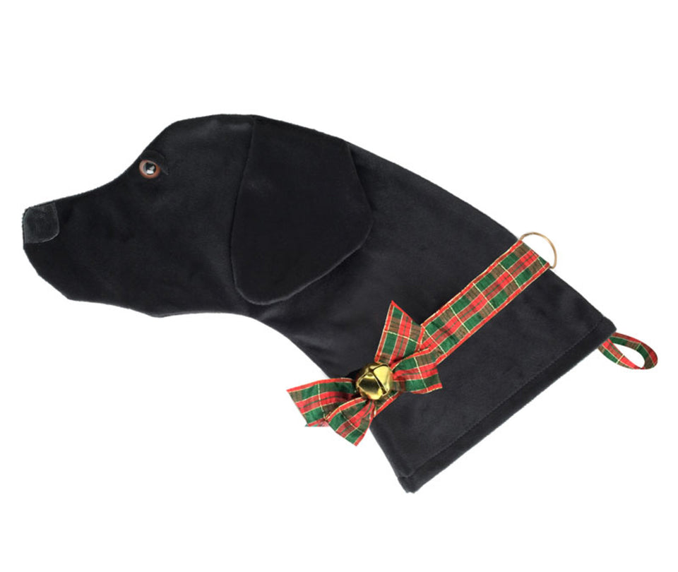 This Black Lab dog shaped Christmas stocking is perfect for stuffing toys and treats into to spoil your fur baby for Christmas, or whatever holiday you celebrate!