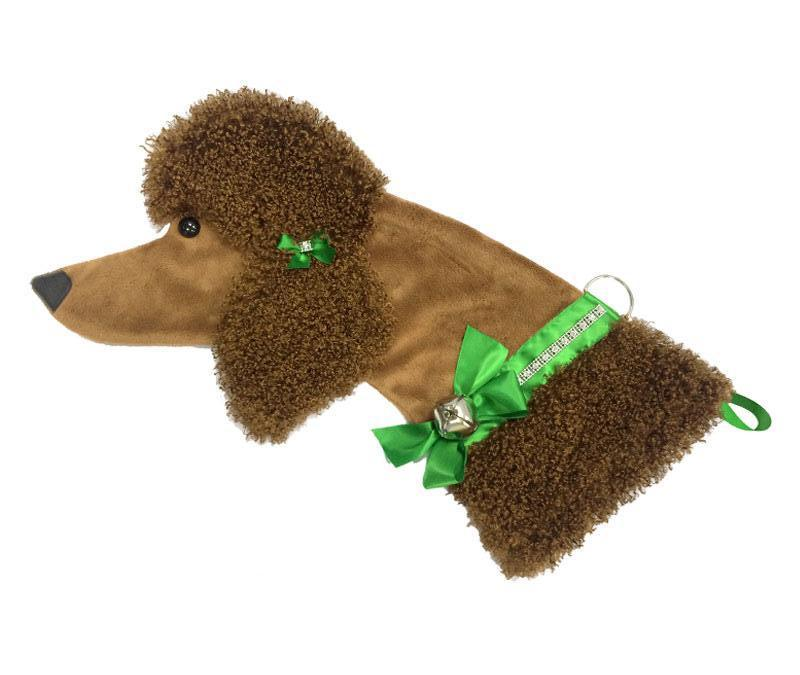 This Brown Poodle shaped dog Christmas stocking is the perfect gift for stuffing toys and treats into to spoil your fur baby for Christmas, or whatever holiday you celebrate!