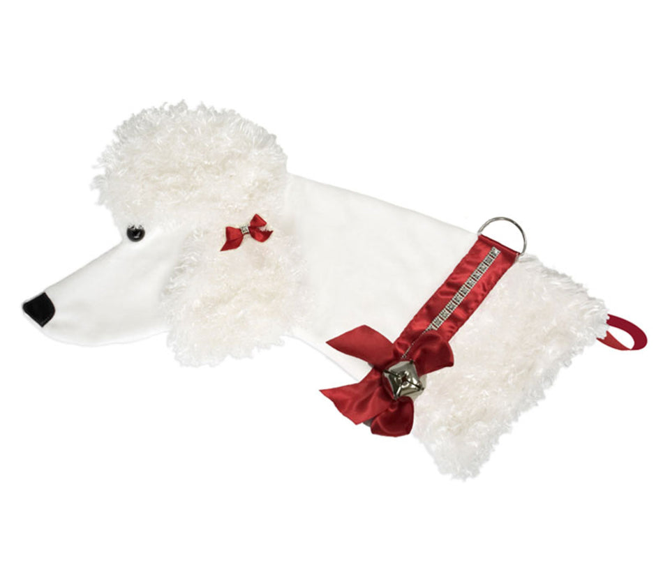 This White Poodle shaped dog Christmas stocking is the perfect gift for stuffing toys and treats into to spoil your fur baby for Christmas, or whatever holiday you celebrate!