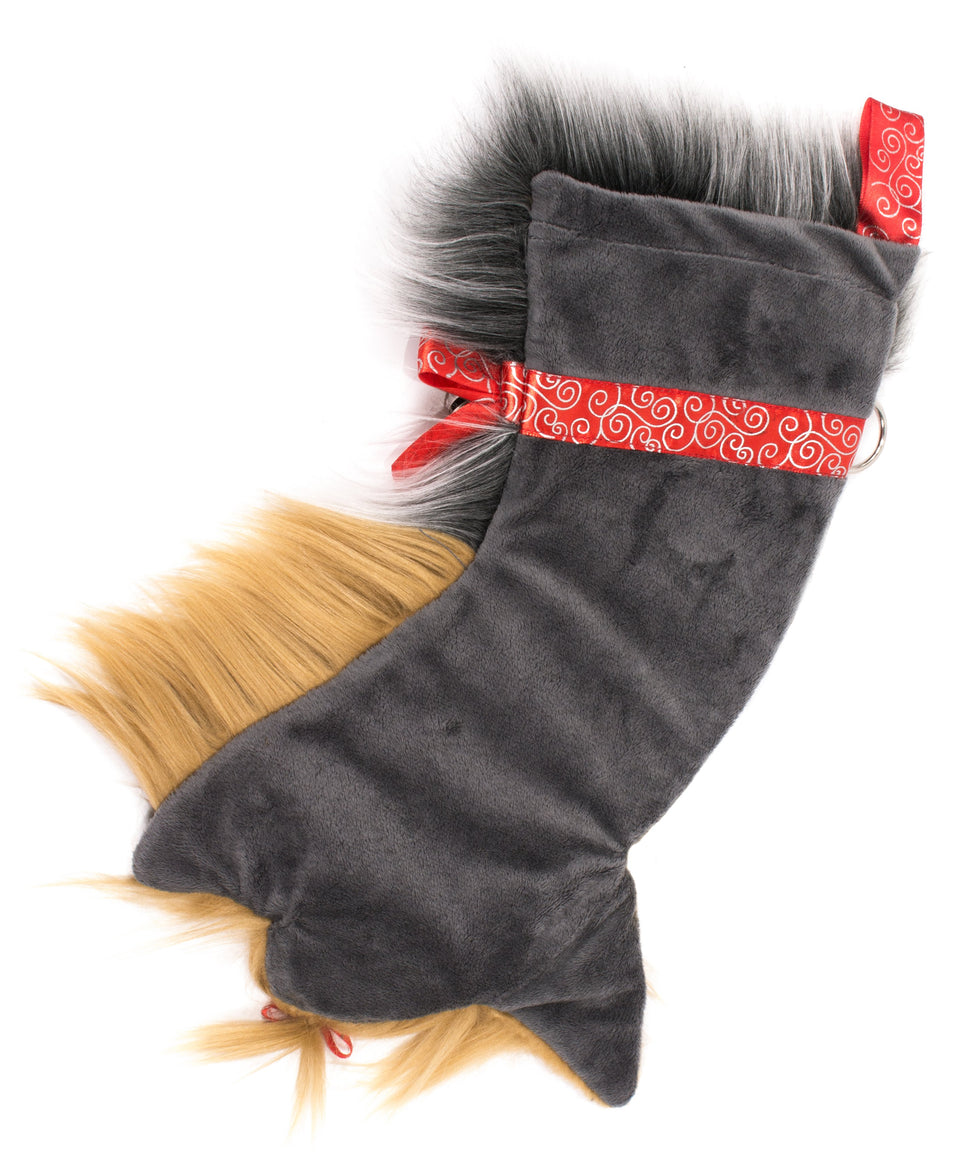 This Yorkshire Terrier shaped Christmas dog stocking is the perfect gift for stuffing toys and treats into to spoil your fur baby for Christmas, or whatever holiday you celebrate!