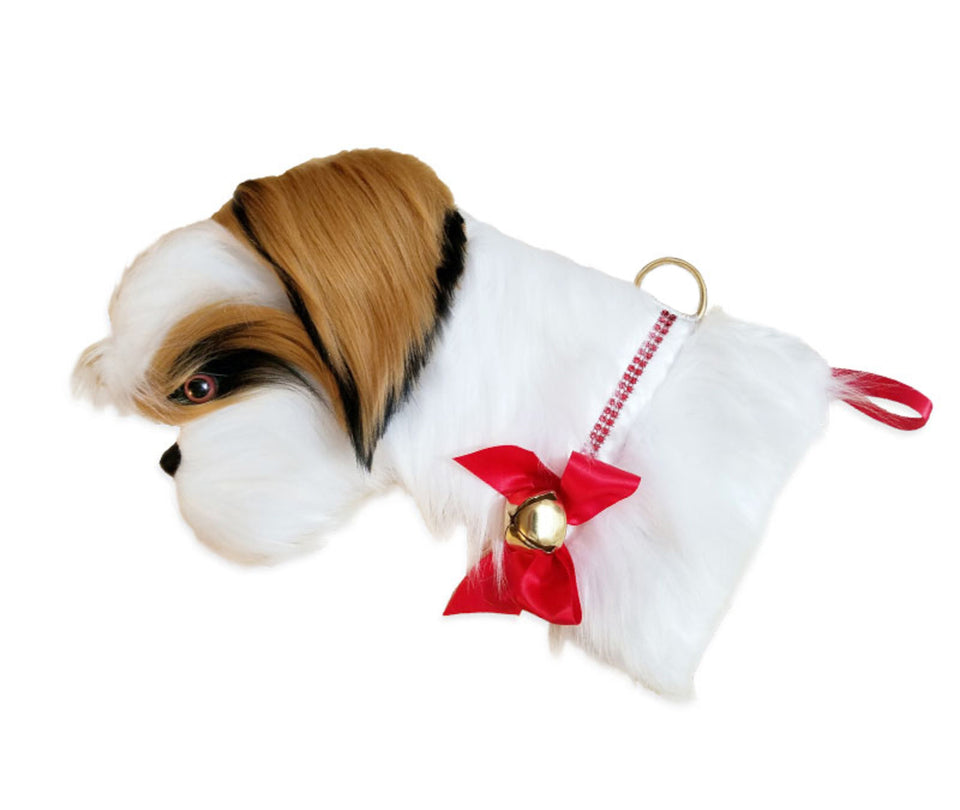 This Shih Tzu shaped dog Christmas stocking is the perfect gift for stuffing toys and treats into to spoil your fur baby for Christmas, or whatever holiday you celebrate!