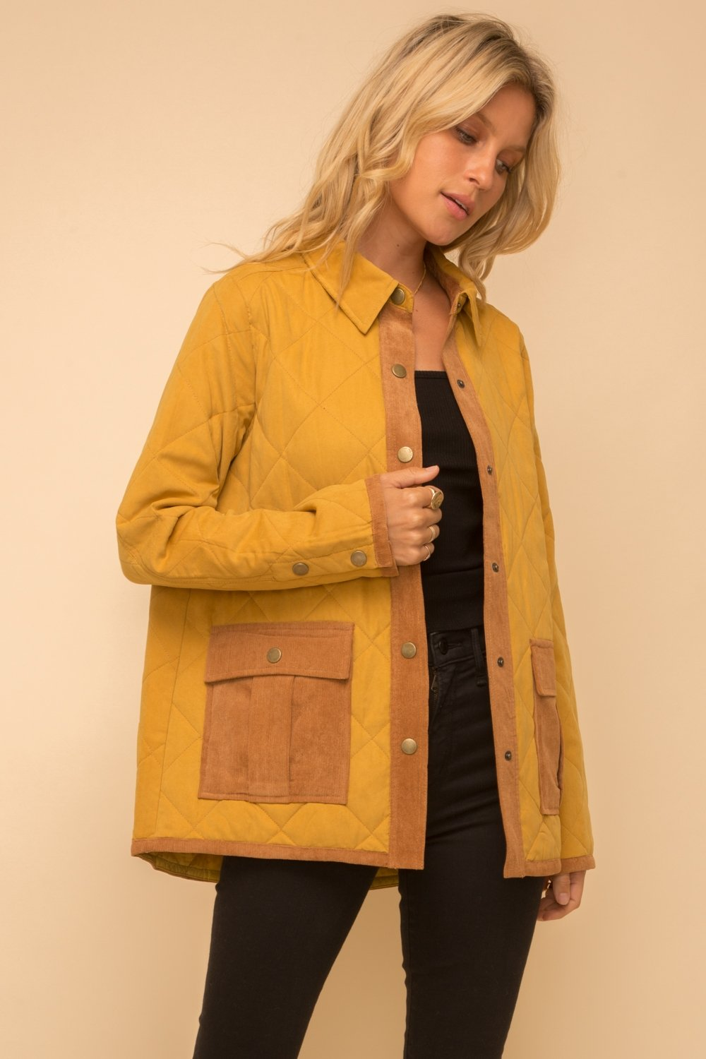 Mustard Quilted London Jacket