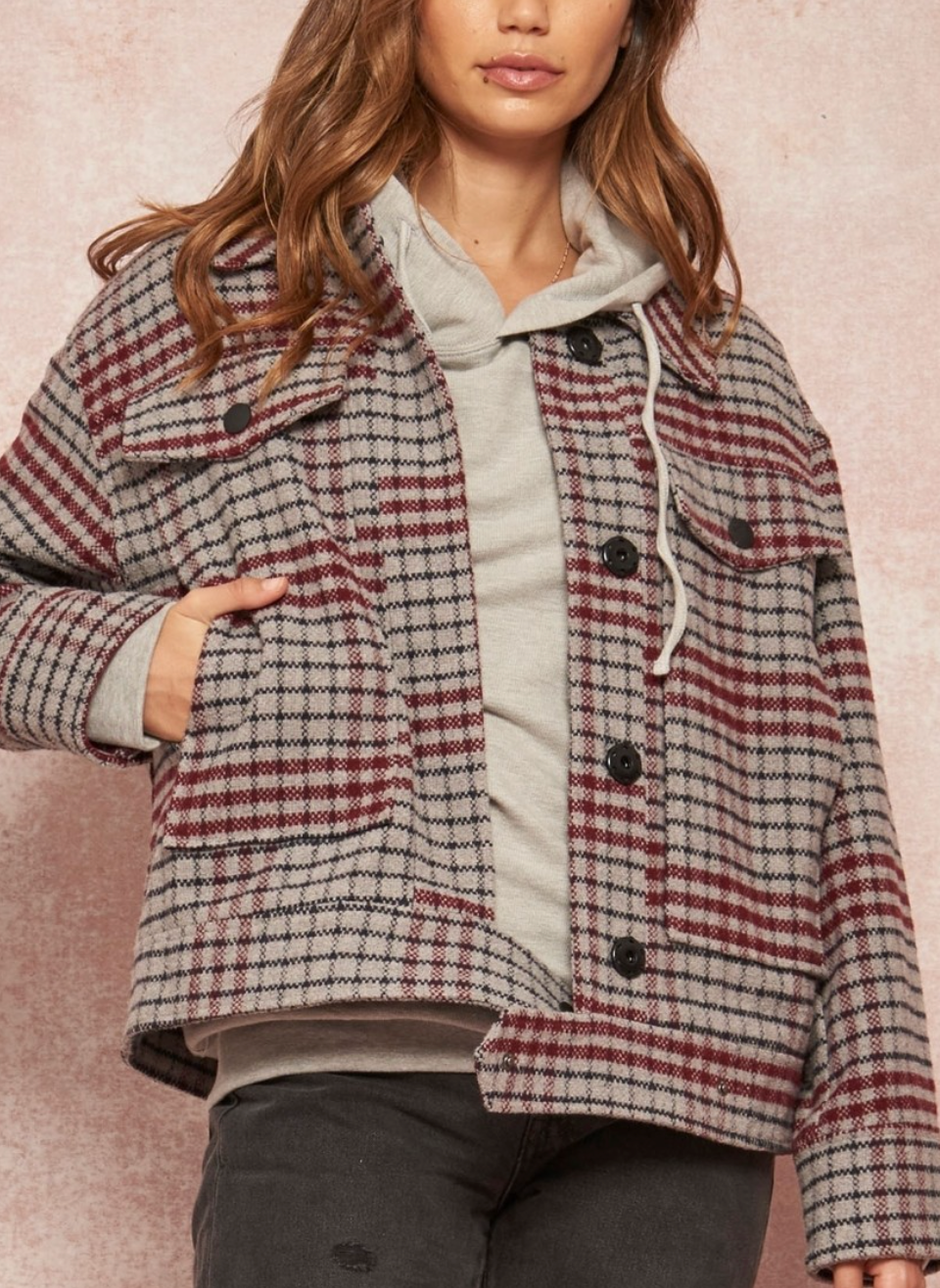 Grey Burgundy Plaid Jacket