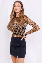 Load image into Gallery viewer, Leopard Print Long Sleeve Mesh Bodysuit