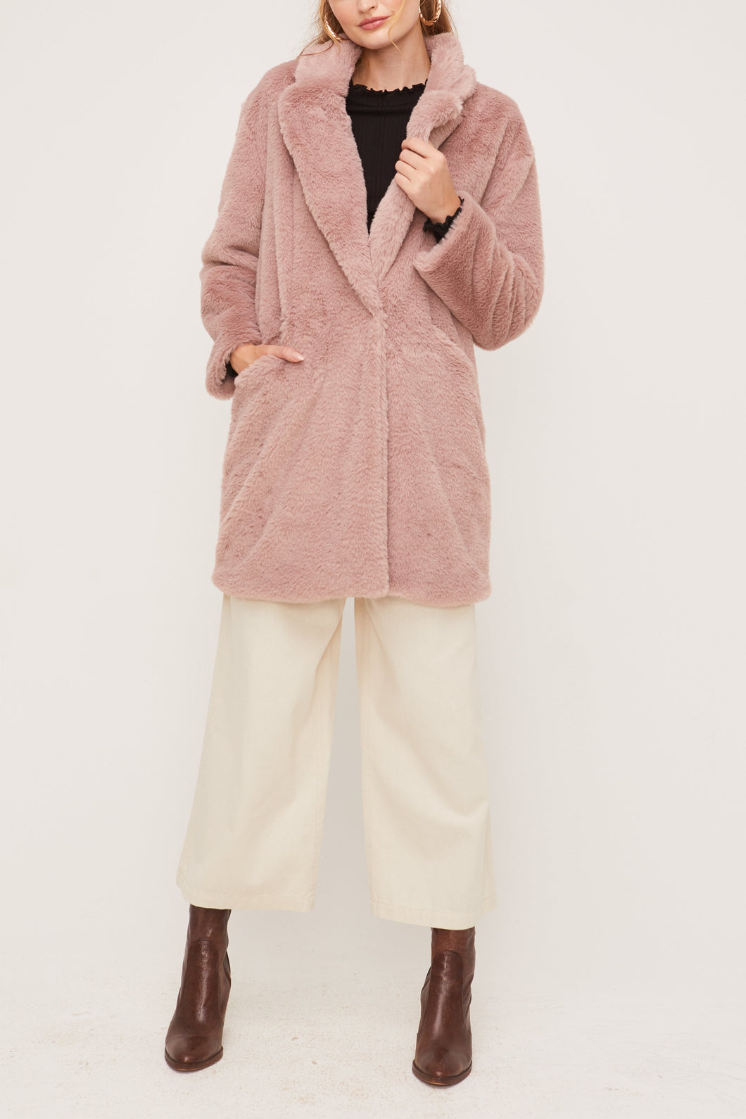 Long Plush Mauve Coat