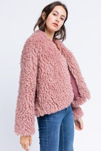 Load image into Gallery viewer, Lulu Mauve Sherpa Jacket