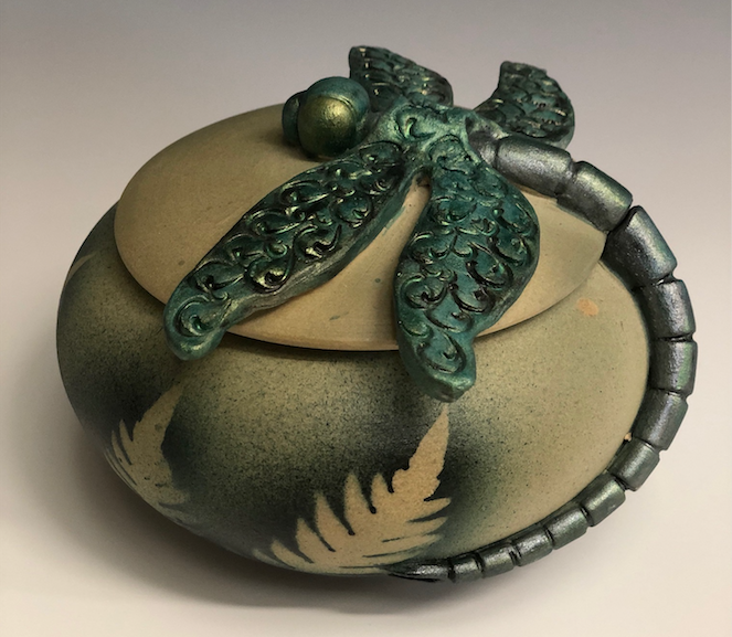 Clay Jar Dragonfly with Lid