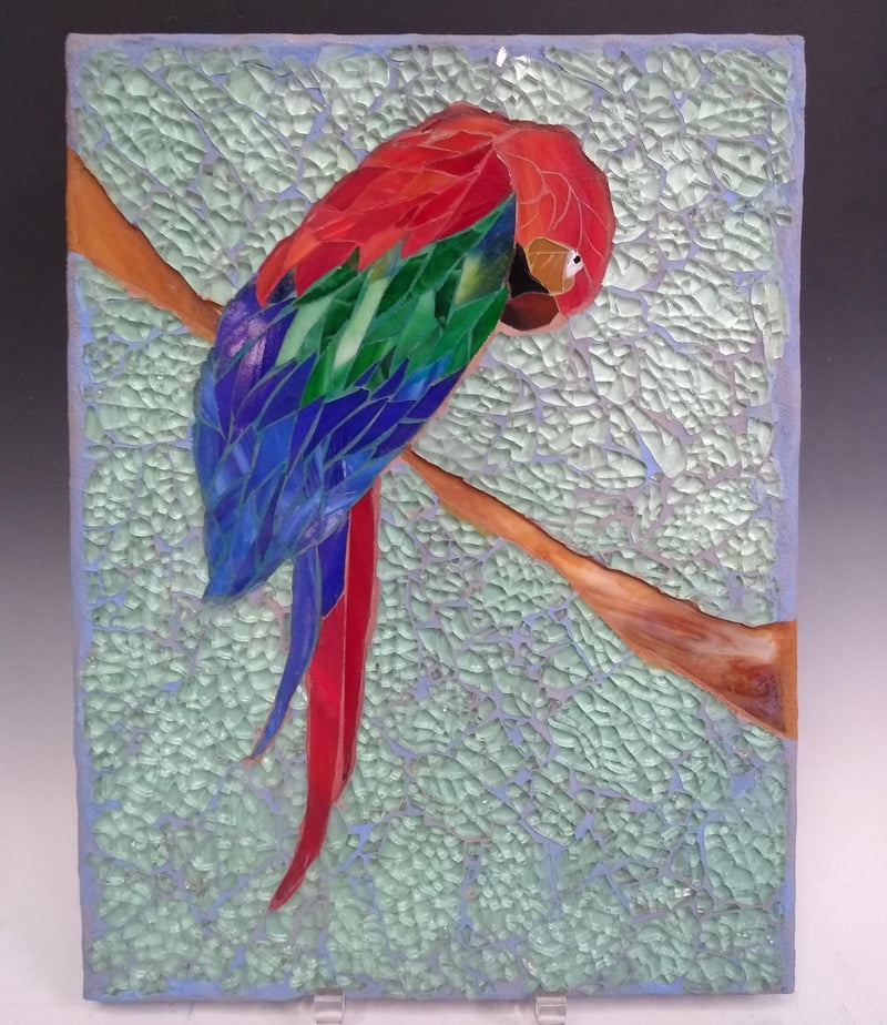 Glass Mosaic on Wood Guacamaya