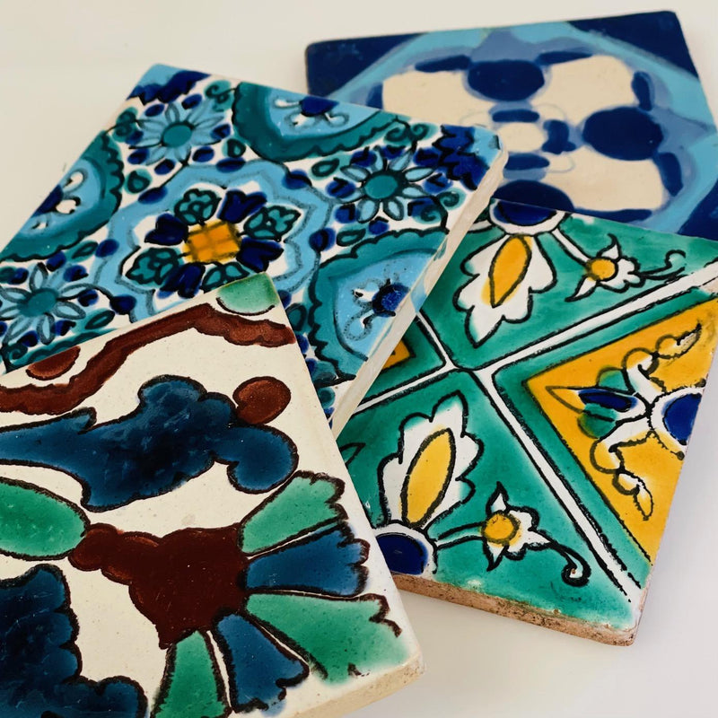 Set of Four Assorted Hand Painted Tiles