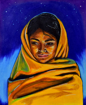 Image of a girl outside at night. In the background there are blues and purples with stars. The girl in the foreground is wrapped in a yellow blanket, the fabric draped around her head and body. There is very warm light being cast on the girl from a light source that is not seen in the image. The girl looks cozy, relaxed and present in the moment.