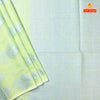 Chintamani blue plain jute silk with contrast pallu and blouse