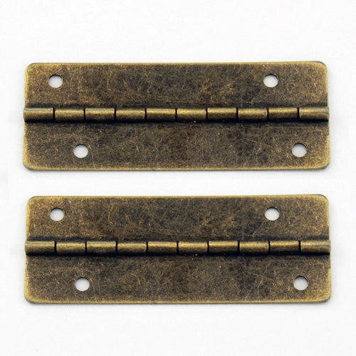 A164 Kit - 2'' Width X 3/4'' Height Offset Hinges, Antique Br.  Finish, Screws