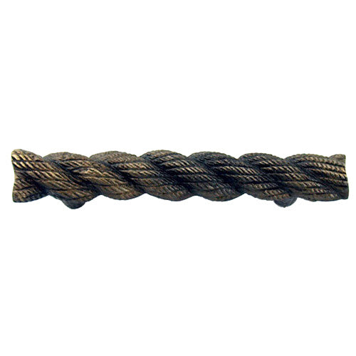 F974 - Antique Br. Cast Metal Faux Rope Handle