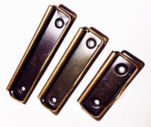 H894 -3 7/8'' Antique Br. Clipboard Clips
