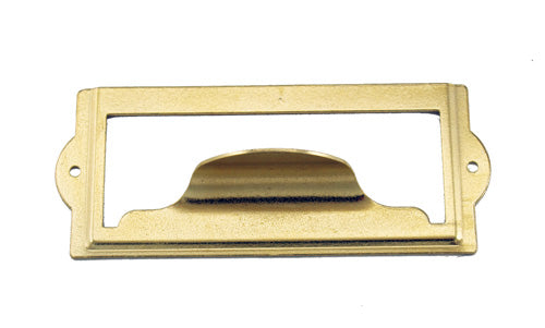 J441 - 3 1/2'' Width x 1 1/2'' Height Brass Plated Cardholder w/Pull