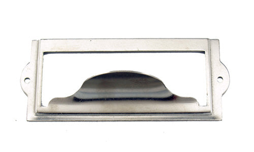 J442 - 3 1/2'' Width x 1 1/2'' Height Nickel Plated Cardholder w/Pull