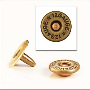 T124 - 1/8'' Small Antique Br. Plated Shotgun Shell Rapid Rivet