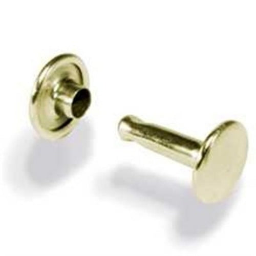 T131 - 1/4'' Double Cap Small Brass Plated Rivet
