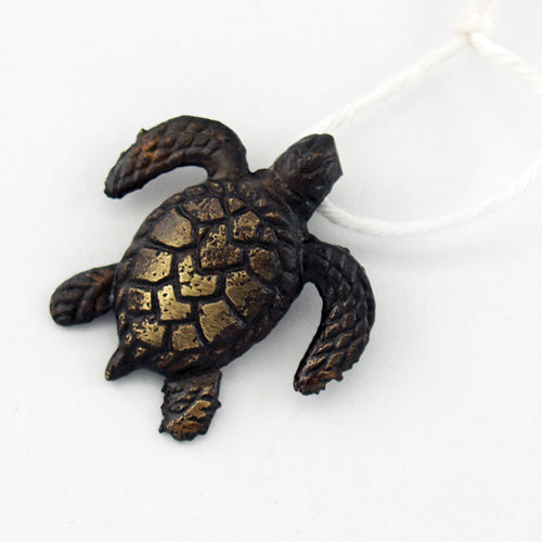 Z994 - Antique Brass Cast Metal Turtle Charm