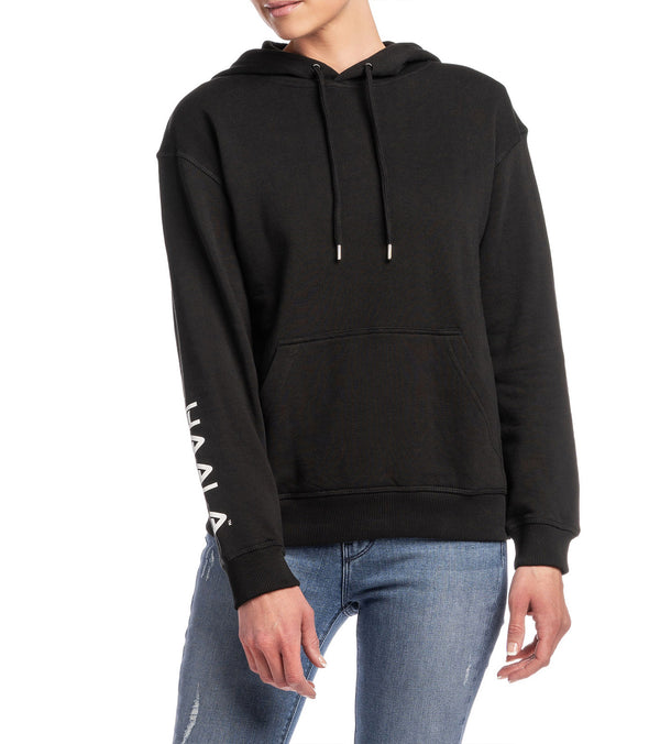 Sleeve Print Hooded Sweatshirt (Black)