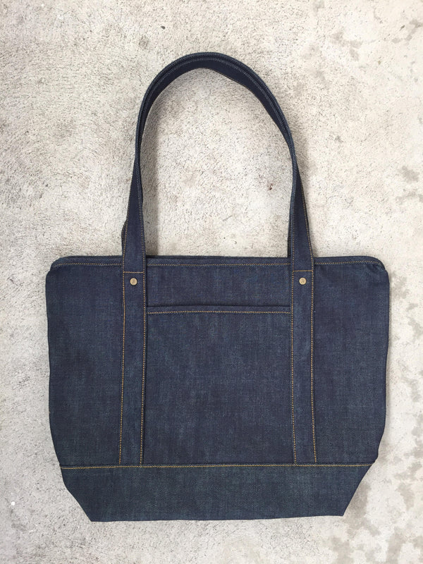 Zip Tote Bag (Raw Denim)