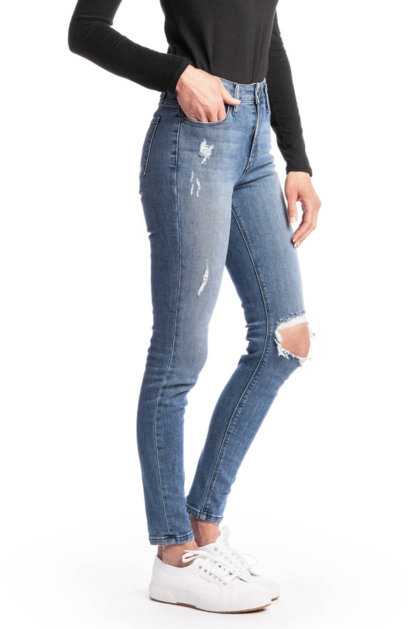 WHITNEY : High-Rise Skinny (Light Wash Distress) Navy Stitch