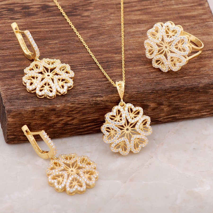 Gold Gilded Finely Engraved Silver Flower Design Set