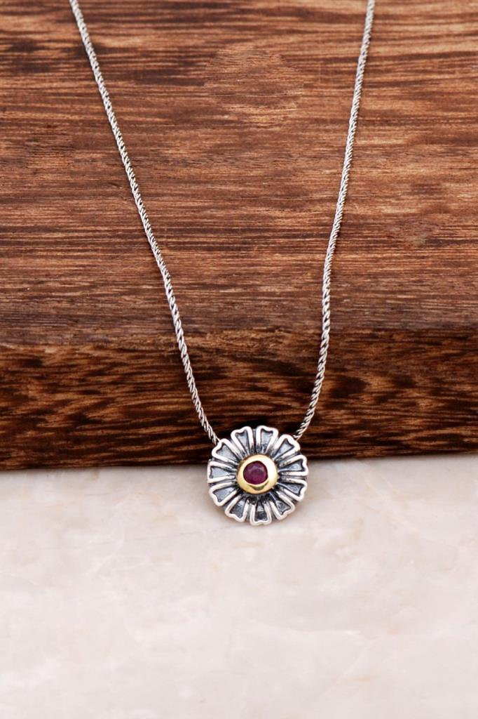 Flower Design Silver Necklace