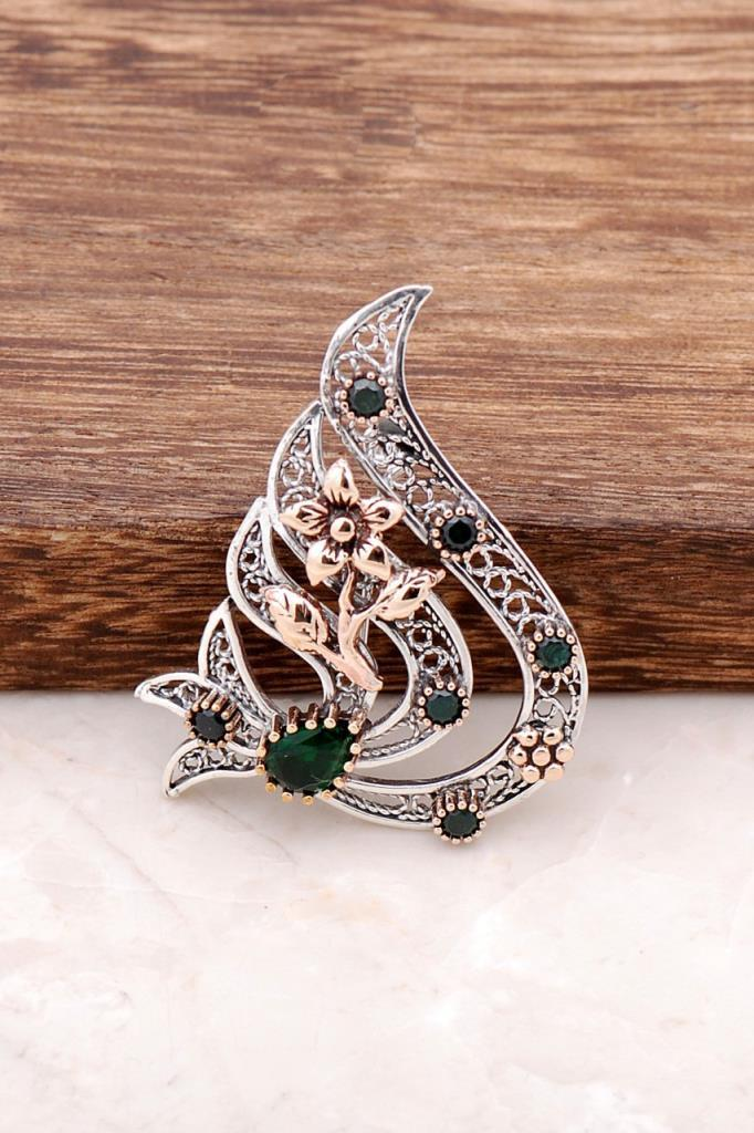 Root Emerald Stone Clove Finely Engraved Silver Brooch