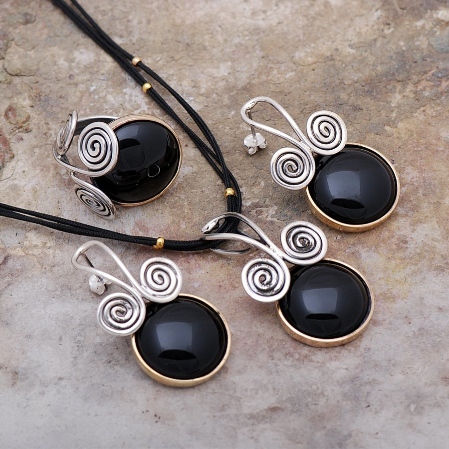 Onyx Stone Handmade Silver necklace Set