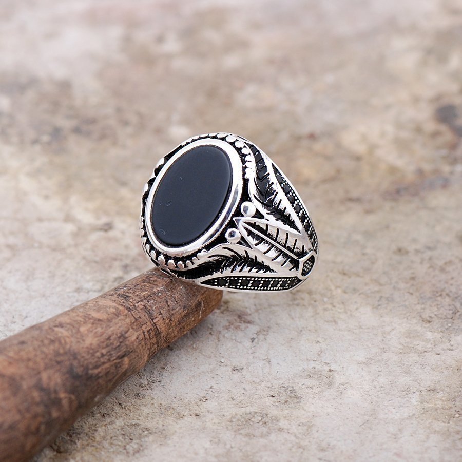 Men Natural Oval Black Onyx Silver Ring