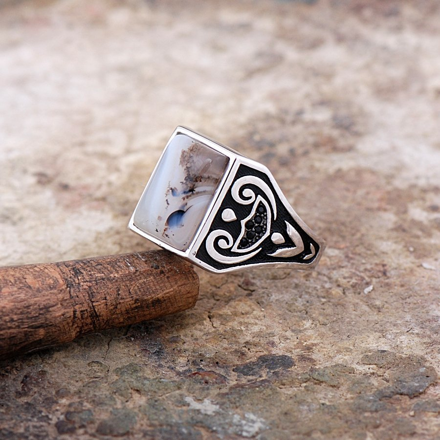 Original Yemen Agate Stone Silver Men Ring