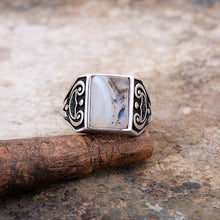Load image into Gallery viewer, Original Yemen Agate Stone Silver Men Ring