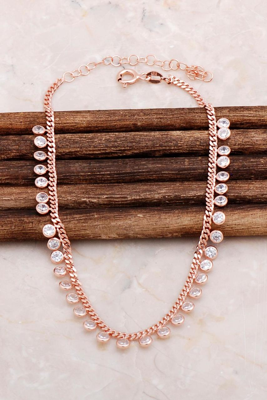 Rose Silver Plated Zircon stone design Anklet