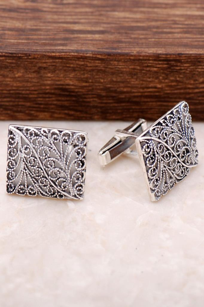 Fine Worked  Embroidery Silver Cufflinks