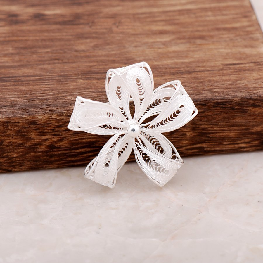 Handmade Flower design Silver Brooch