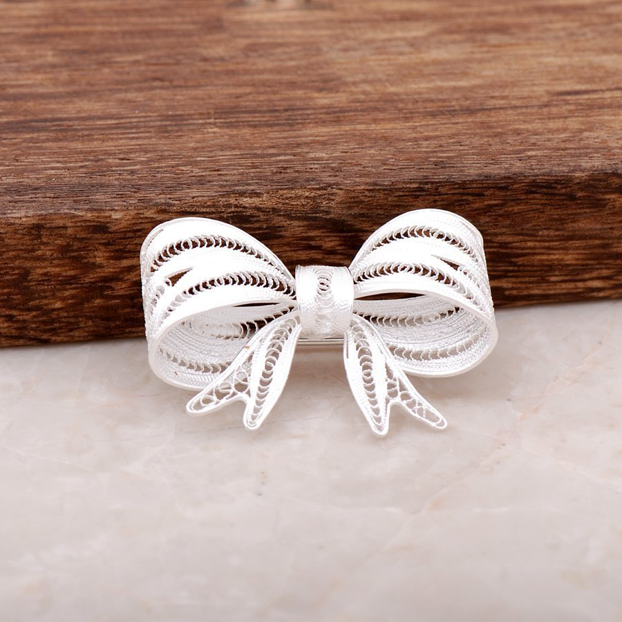 Bow design Finely Embroidered Handmade Silver Brooch