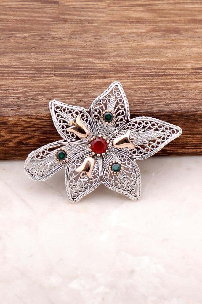 Finely Embroidered Silver Design Brooch