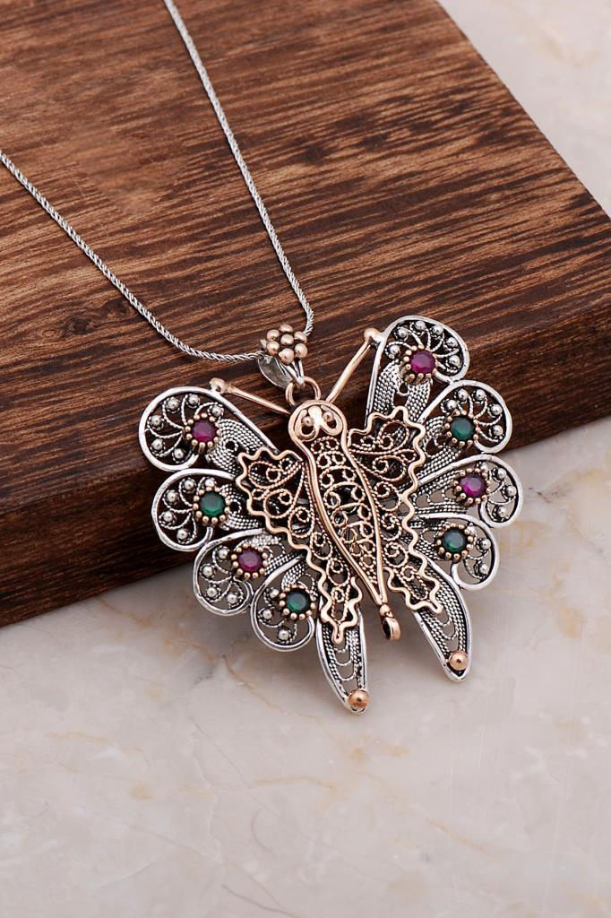 Handcrafted Finely Engraved Design Butterfly Necklace