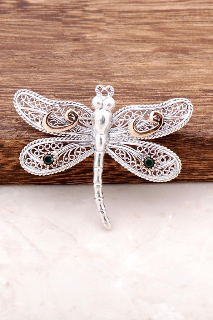 Filigree Engraved Dragonfly Design Silver Brooch