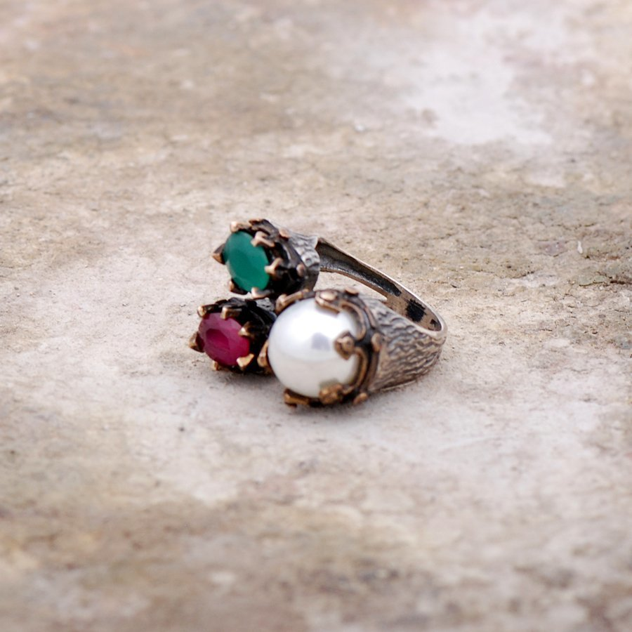 Handmade Silver Ring with Ruby and Emerald Stone