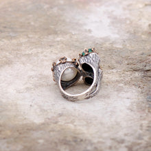 Load image into Gallery viewer, Handmade Silver Ring with Ruby and Emerald Stone