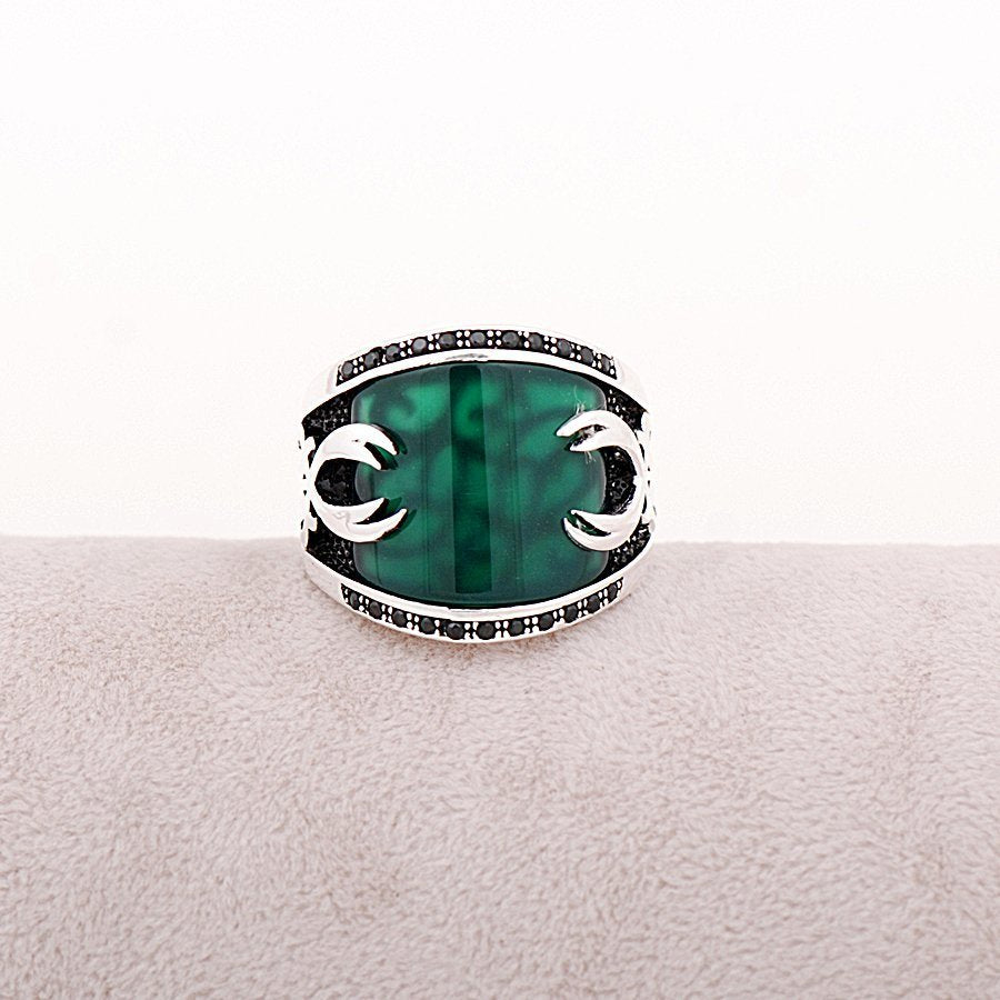 Jade Stone Silver Men Ring